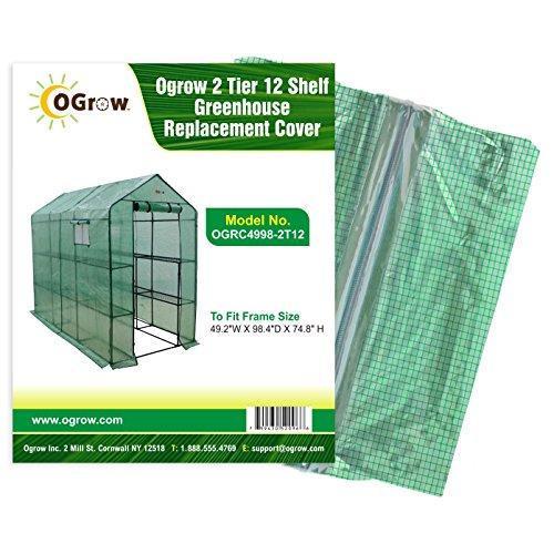 "OGrow OGRC4979-2T8 2 Tier 8 Shelf Greenhouse PE Replacement Cover, 49.2"" x 74"" x 74.8"", Green"