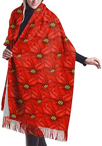 Bufanda de Navidad Poinsettia Bufandas de cachemira suave para mujer Elegante manta cálida Mantón de invierno