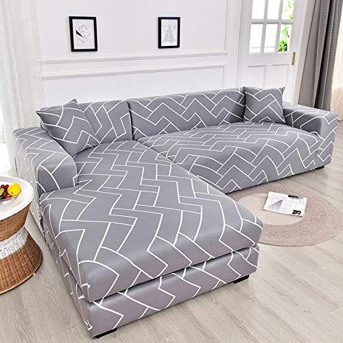 MKQB Funda de sofá elástica geométrica elástica, Funda de sofá Modular en Forma de L para la Esquina de la Sala de Estar, Antideslizante Envuelto herméticamente NO.8 XL (235-300cm)