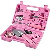 Gartengeräte für Frauen im Koffer Pink 7-teilig
