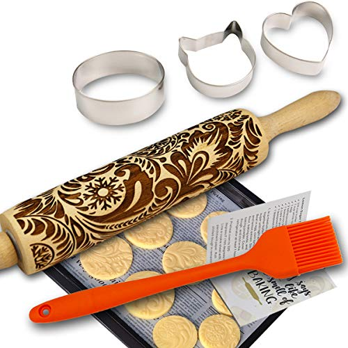Paisley Embossed Rolling Pins for Baking Cookies Embossing Rolling Pin Frosty Flowers Wooden Laser Engraved 3D Rolling Pin Embossed Dough Roller Christmas Decoration Snowflake Pottery Clay Ceramics