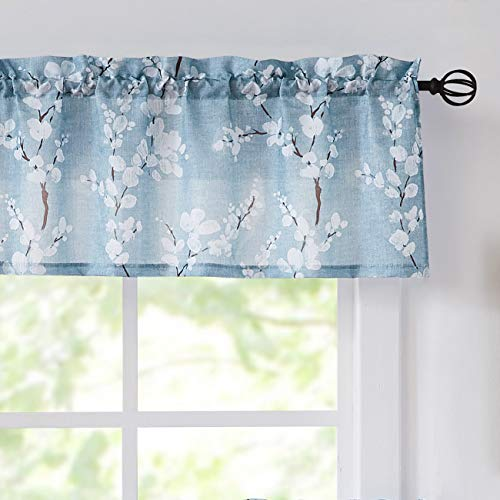 """Fmfunctex Window Valance Curtains Living Room Blue-White Blossom Print Country Style Canvas Floral Kitchen Valance for Small Bathroom Café Windows 54""""W x 15"""" L 1 Panel Rod Pocket"""