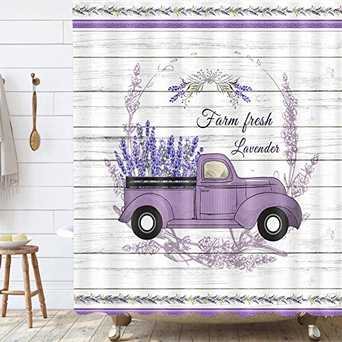 Purple Floal Farmhouse Shower Curtain , Lavender Flower on Vintage Truck Country Rustic Shower Curtain Set, Purple Fabric Bathroom Curtains with Shower Hooks, Waterproof 69x70inches