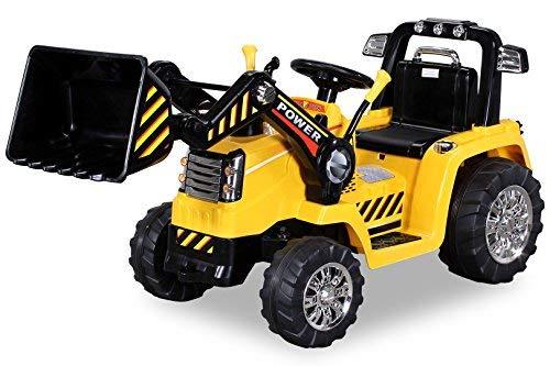 Kinder Elektrobagger mit 2 x 25 Watt Motoren Elektro Bagger Kinderauto Kinderfahrzeug Spielzeug für Kinder Kinderspielzeug (Gelb)