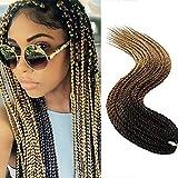 24'(60cm) SEGO Extensiones de Pelo Sintetico para Trenzas Africanas [Negro & Castaño Oscuro & Castaño Claro] Cabello Se Ve Natural Rizado Senegalese Crochet Twist Braiding Hair (30Roots,100g)
