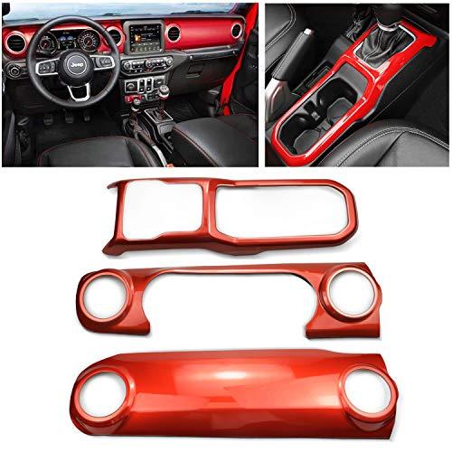 MOEBULB Interior Cover Mouldings 3pcs Interior Decoration Trim Kit Compatible for Jeep Wrangler JL 2018 2019 (3pcs/Set, Red)