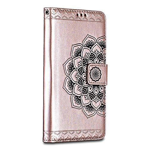 Bravoday Handyhülle für iPhone SE/iPhone 5 5s Hülle, Premium Leder Flip Schutzhülle [Kartenfach] [Magnetverschluss] für iPhone SE/iPhone 5 5s Tasche, Rosegold