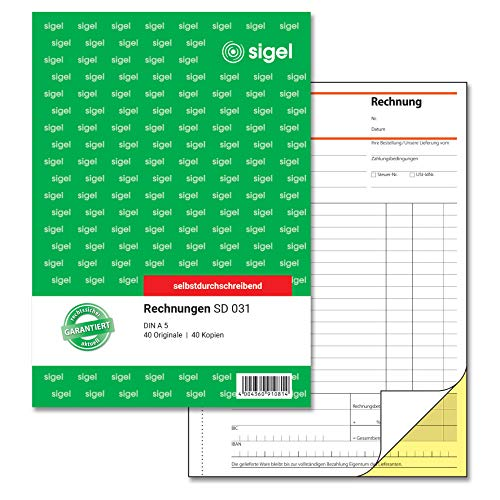 SIGEL SD031 Rechnungen, A5, 2x40 Blatt, selbstdurchschreibend, 1 Stück