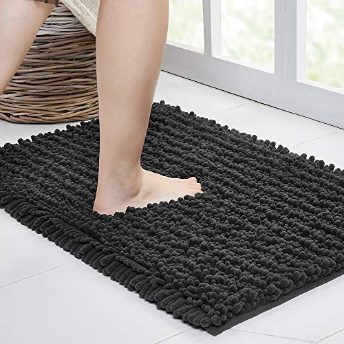 Walensee Tapete de banheiro grande antiderrapante (182 x 61 cm) cinza escuro) absorvente de água, chenille supermacio, lavável, seco, extra grosso, perfeito absorvente, melhor tapete de pelúcia para piso de chuveiro