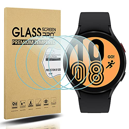 Diruite 4-Pack Compatible con Samsung Galaxy Watch 4 44mm Cristal Templado Protector Pantalla for Samsung Galaxy Watch 4 44mm Smartwatch [9H Dureza Antiarañazos] [HD Film Transparente]
