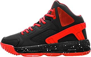 Yong Ding Men Basketball Sneakers PU Upper Breathable High Top Sports Shoes with Splice Design and Shock Absorbing Sole