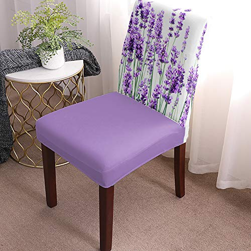 Stretch Chair Cover Dining Room Chair Covers Set of 4 Purple Lavender Flowers Soft&Washable Kitchen Chair Covers Fitted Chair Seat Protector with Elastic Bottom for Hotel, Office