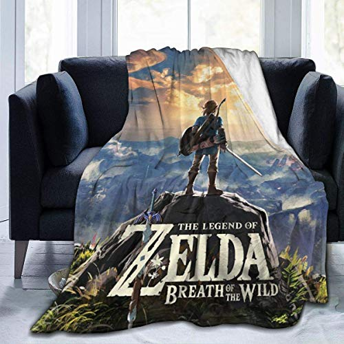 HASYH The Legend of Zelda Breath of The Wild Sky Flannel Blanket Super Soft and Comfortable Fuzzy Luxury Warm Plush Microfiber Blanket Suitable for Bed Sofa Travel Four Seasons Blanket