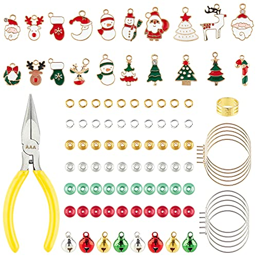 PandaHall Juego de dijes de Navidad grande, incluye 20 colgantes de abalorios, 200 cuentas de metal, 80 abalorios de campana, 40 lazos de copa de vino, 100 anillos de salto, anillo de dedo y alicates