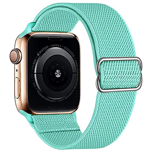 Compatible with Apple Watch Strap Sport 44 mm 40 mm 38 mm 42 mm Soft Nylon Strap Adjustable Band Apple Watch Sport Bracelet 6/SE/5/4/3/2/1 Stretchy Replacement Strap 38mm/40mm Mint Green