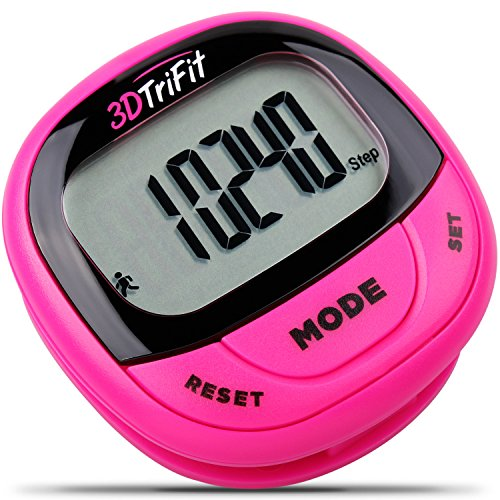 Realalt 3DTriFit 3D Pedometer Activity Tracker | Accurate Pedometer for Walking with Pause Function & 7-Day Memory(Magenta)
