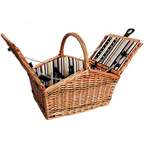 Picnic Basket 4 People Dining Set Wicker Hamper Multifunctional Travel Insulation Basket Use for Garden Outdoor Camping Picnic Party