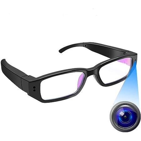 メガネカメラ 超小型カメラ 1080P 高画質 隠しカメラ メガネ型カメラ スパイカメラ 小型防犯カメラ 録画 撮影 防犯用 会議 商談 証拠撮影 日本語取扱説明書付き