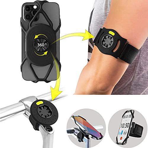 Bone Run + Bike-Tie-Connect Kit, 360° Drehbarer 2 IN 1 Abnembarer Handyhalterung zum Joggen Radfahren, Universales Sportarmband Fahrradhalterung für Smartphone 4,7-7,2 Zoll, Fahrradcomputer