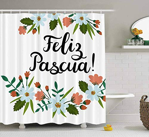 Bathroom Shower Curtains,ROOLAYS Happy Easter in Spanish Lettering Greeting Card Modern Calligraphy Floral Wreath Waterproof Shower Curtain Christmas Shower Curtain Colorful Shower Curtain 72X72 Inch