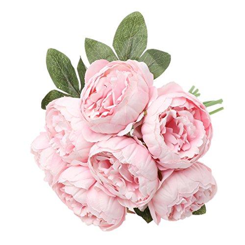 LANDUM Ramo de flores de seda artificial de 7 piezas, color rosa claro