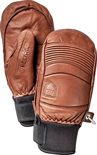 Hestra Leather Fall Line - Short Freeride Snow Mitten with Superior Grip for Skiing and Mountaineering - Brown - 10