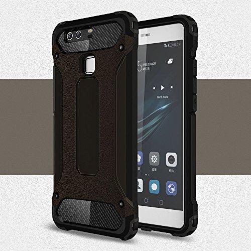 Custodia Rigida per Huawei P9 Plus   Nero   Silicone TPU Morbido e Plastica Dura