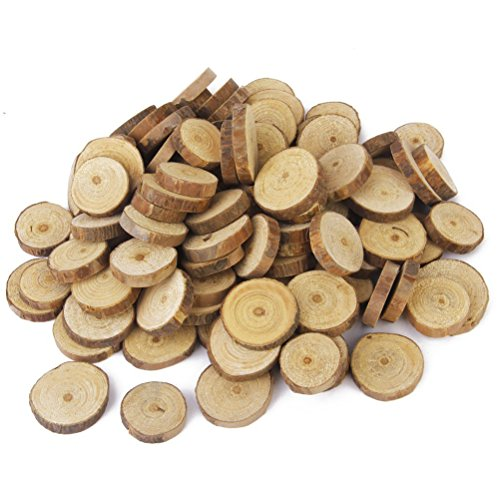 OULII Wood Slices Tree Log Discs Rustic Wedding Christmas Ornaments, 1.5-3CM, 100-Pack