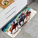 Non Slip Kitchen Mat horse race thoroughbred equine horses artist horse racing painting watercolor Throw Cushioned Carpet Floor Rugs Decor for Bath living room Office Front Door Sink-120cm x 45cm