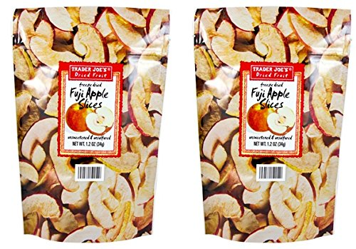 Trader Joe's Dried Fruit Fuji Apple Slices 1.2 oz (Pack of 2)