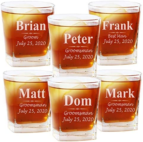 Set of 1 4 5 and More Custom Personalized Whiskey Rocks Glasses for Bachelor Party Engraved product image