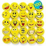 THE TWIDDLERS 100 Emoji Kinder kleine Radiergummi Set in 6 verschiedenen Designs | radierer Partyzubehör für Kindergeburtstag, Partyartikel & Geburtstags-Mitbringsel Halloween gastgeschenke