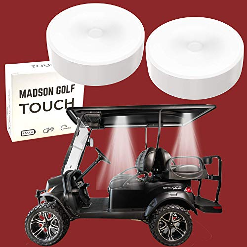 2-Pk Universal Golf Cart Roof Stick On Anywhere One Touch LED Light fits Club Cart, Onward, Precedent, EZGO, Yamaha,...