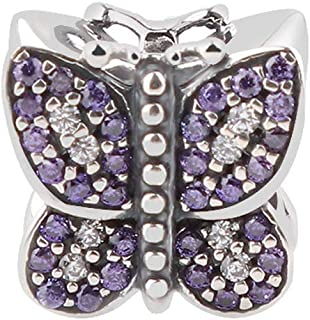 Sparkling Butterfly with Australian Crystals Charm 925 Sterling Silver Bead for European Compatible Brand Bracelet