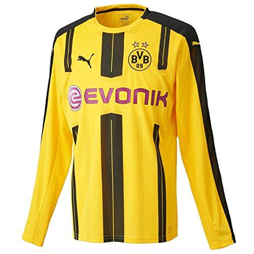 PUMA Herren Trikot BVB Long Sleeve Home Replica Shirt with Sponsor Logo, cyber yellow-Black, XL