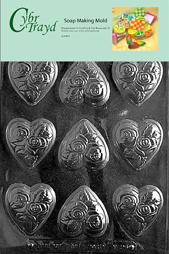 Cybrtrayd Medium Heart with Flowers Valentine Soap Mold with Exclusive Cybrtrayd Copyrighted Soap Molding Instructions
