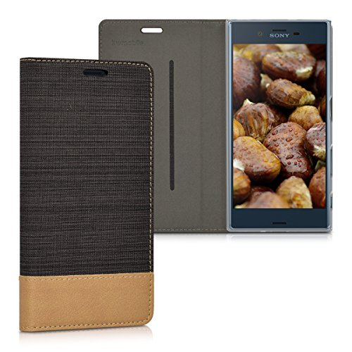 kwmobile Hülle kompatibel mit Sony Xperia XZ/XZs - Stoff Handy Schutzhülle - Flip Cover Hülle Anthrazit Braun