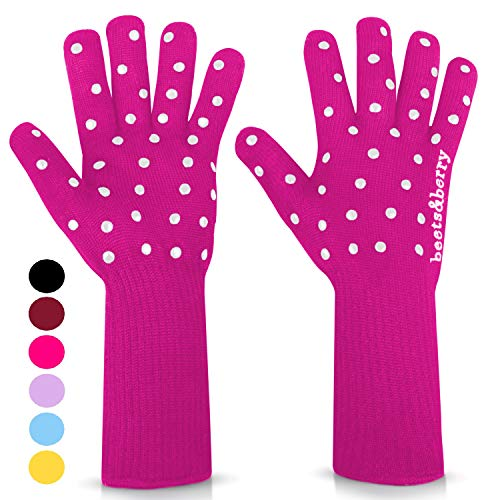 beets&berry Oven Gloves Oven Mitts Heat Resistant to 500°| 1 Pair Heat Resistant Gloves with Extra Long Sleeves to Protect Forearms | Non-Slip Grip Spots (Fuchsia Pink)