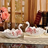 Cenicero de cerámica europeo Kewei, cenicero europeo de cisne de moda para oficina, hogar, sala de estar, mesa de café, decoración de hotel, color rosa (dos), color rosa (dos) Rosa Individual