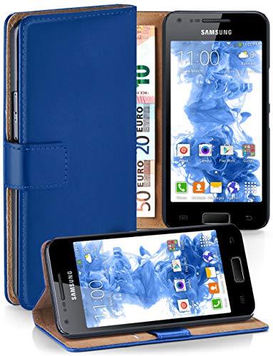 MoEx Cover a Libretto Compatibile con Samsung Galaxy S2 / S2 Plus | Fessura Carta + Soldi, Supporto, Blu Scuro