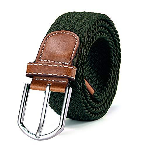 DonDon Cinturón trenzado extensible y elástico para hombres y mujeres de 100...