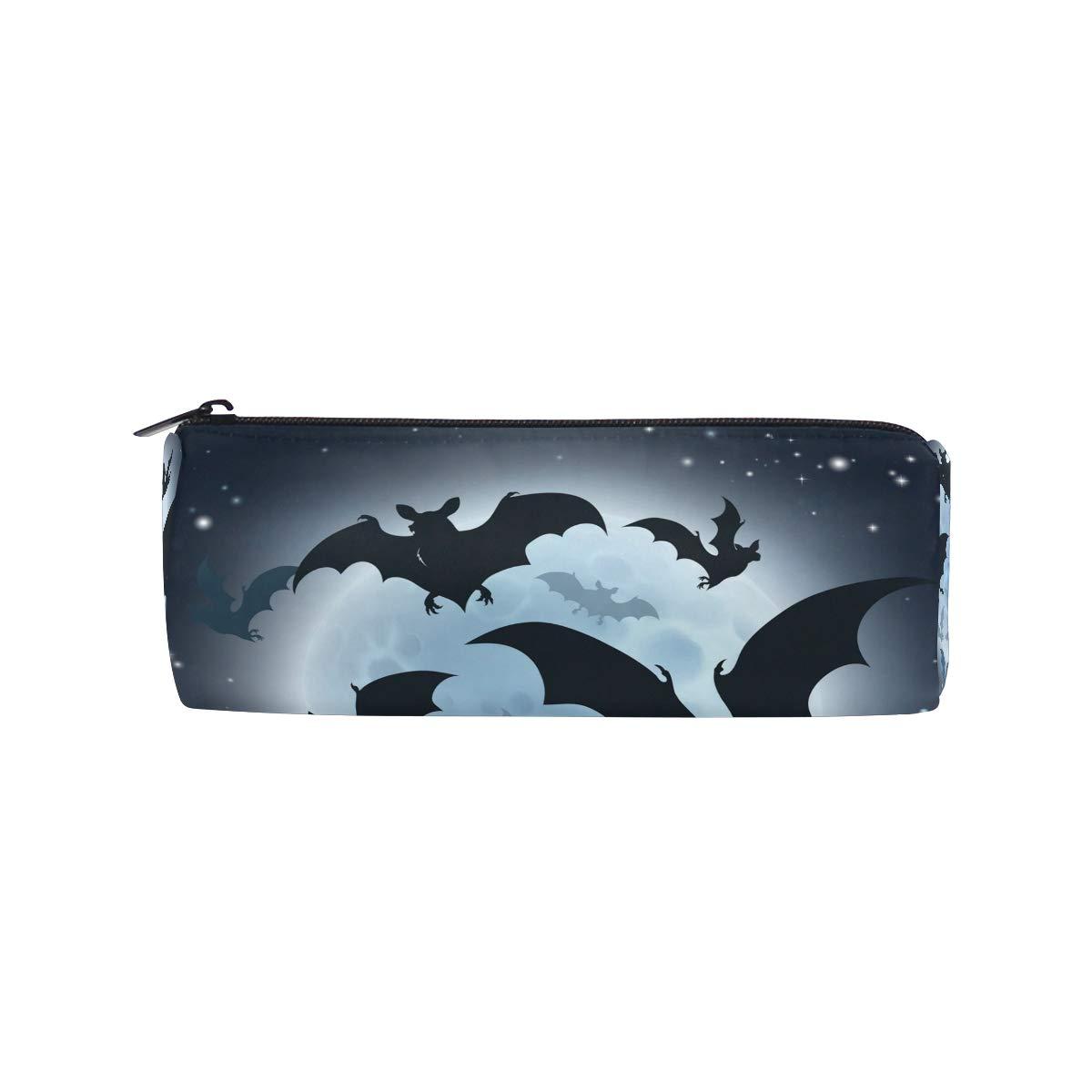 Estuche para lápices de bate de Halloween para niños, niñas, estudiantes, escuela con cierre redondo bolsa de maquillaje: Amazon.es: Oficina y papelería