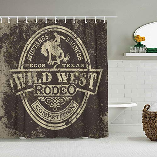 ALLMILL Shower Curtain Wild West Rodeo Vintage Artwork Waterproof Bath Curtains Hooks Included - 72 x 72 inches Bathroom Decorative Ideas Polyester Fabric Accessories