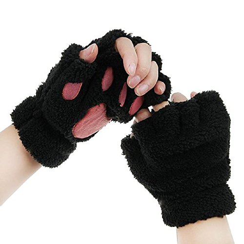 Himine Cat Claw Bear Paw Fingerless Winter Plush Gloves 1Pair (Black)