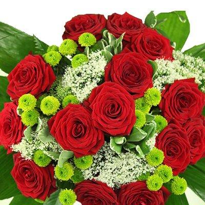 Großer Blumenstrauß Premiumstrauß Romantik mit 15 roten Rosen - Inkl. gratis Grußkarte!