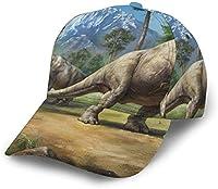 女性男性クラシック通気性野球帽クイックドライ調節可能なお父さんの帽子-ブラキオサウルス恐竜-ワンサイズ