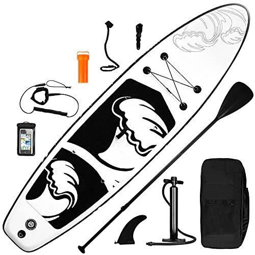 inty Aufblasbares Stand Up Paddle Board ISUP Surf Board 6 Zoll Dick Komplett-Set SUP Board, Hochdruck-Pumpe,Paddel, Rucksack, Reparaturset (Bianco Nero 335cm)