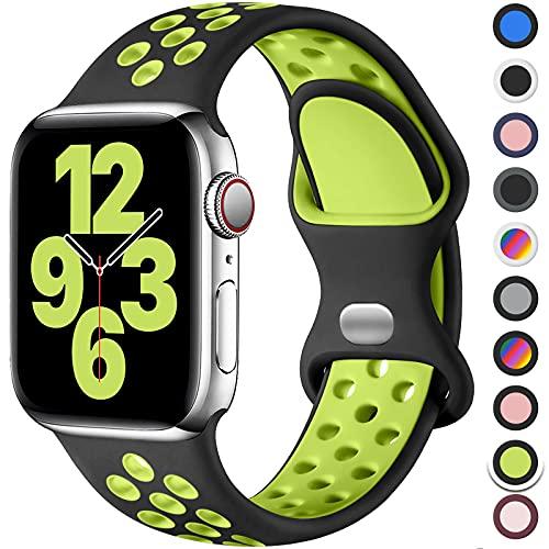Upeak Sport Armband Kompatibel mit Apple Watch Armband 44mm 42mm 40mm 38mm, Atmungsaktiv Silikon Doppelloch Schnappschnalle Band, für iWatch Series 6 5 4 3 2 1 SE, 42mm/44mm-M/L, Schwarz/Grün