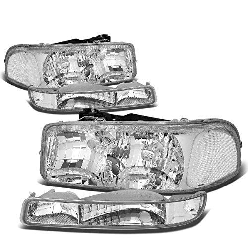 4Pcs Chrome Housing Clear Corner Headlights+Bumper Light Lamp Replacement for GMC Sierra Yukon GMT800 99-07