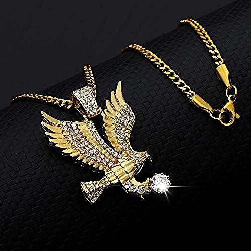 xiaohuanxi Halskette Schmuck Hip Hop Zirkon Adler Anhänger Halskette Glamour Herrenschmuck Punk Rock Style Rapper Mode Geschenk Kupfer Halskette Länge 60 cm